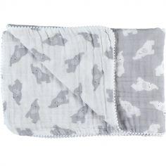 Couverture en mousseline de coton Eléphant gris (75 x 100 cm)