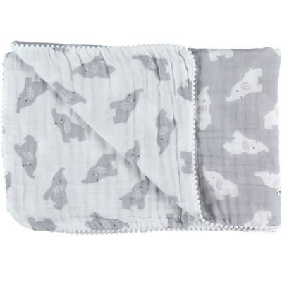 Couverture en mousseline de coton Eléphant gris (75 x 100 cm)  par Noukie's