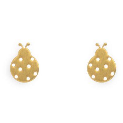 Boucles d'oreilles Nature coccinelle (vermeil doré)  par Coquine