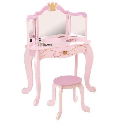 Coiffeuse enfant rose Princesse avec tabouret  par KidKraft