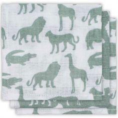 Lot de 3 mini langes Safari vert d'eau (31 x 31 cm)