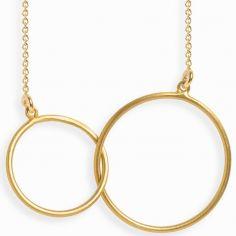 Collier chaîne 40 cm Linear double cercle 18 mm (vermeil doré)