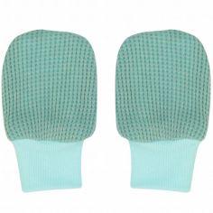 Moufles de naissance Ciumbelle Silt Green vert d'eau