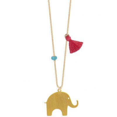 Collier cordon beige pendentif Nature éléphant 20 mm (vermeil doré)  par Coquine