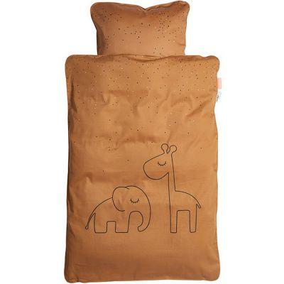 Housse de couette et taie d'oreiller Dreamy dots moutarde (100 x 140 cm)  par Done by Deer