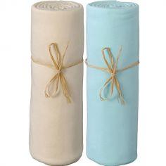 Lot de 2 draps housses coton bio turquoise et écru (70 x 140 cm)