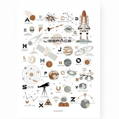 Affiche A3 Abécédaire de l'espace  par Lutin Petit Pois