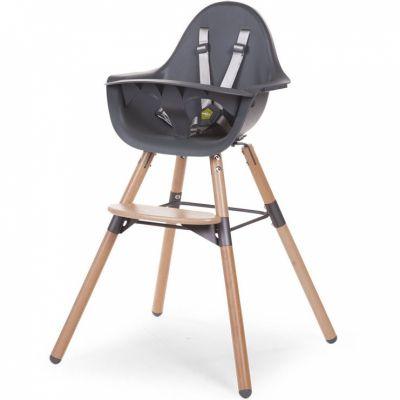 Chaise haute en bois naturel Evolu 2 gris  par Childhome