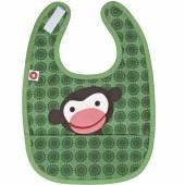 Bavoir à poche singe vert en coton bio - Franck & Fischer