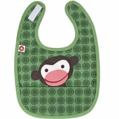 Bavoir à poche singe vert en coton bio
