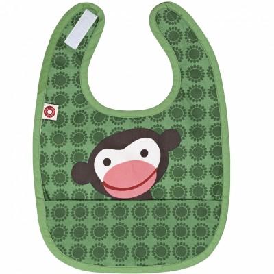 Bavoir à poche singe vert en coton bio  par Franck & Fischer