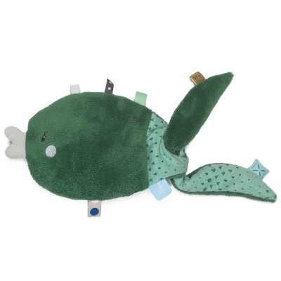 Doudou étiquettes Fish pillow Forest Green (23 cm) Snoozebaby