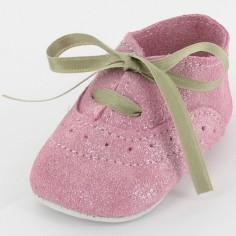 Chaussons bébé cuir et paillettes Dida rose (6-12 mois)