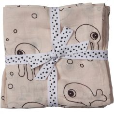 Lot de 2 langes Sea Friends rose (70 x 70 cm)