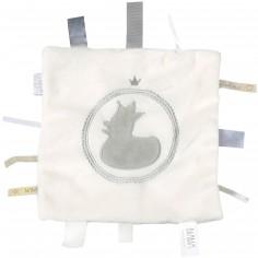 Doudou étiquettes canard blanc et gris