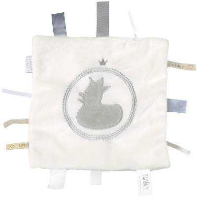 Doudou étiquettes canard blanc et gris BAMBAM