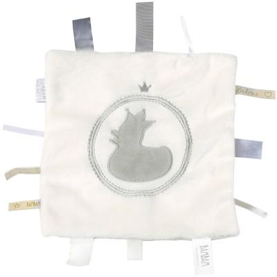 Doudou étiquettes canard blanc et gris  par BAMBAM
