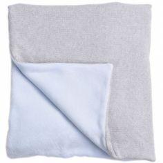 Couverture bébé en coton et polyester Perle de riz bleu (100 x 140 cm)