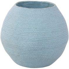 Panier de rangement en coton boule Tribute to Cotton bleu (27 x 30 x 30 cm)