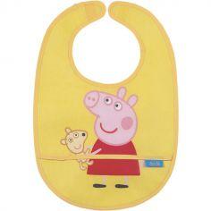 Bavoir plastifié à velcro Peppa Pig jaune
