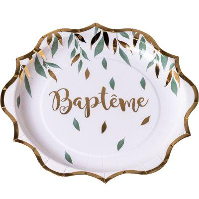 Lot de 8 assiettes en carton Baptême de rêve