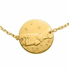 Bracelet chaîne 16 cm Le Petit Prince couché dans l'herbe 14 mm (or jaune 750°)