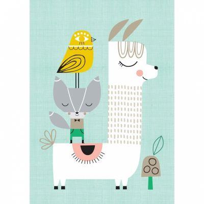 Affiche A3 Lama and friends Petit Monkey