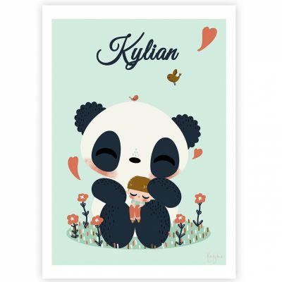 Affiche A4 Le panda et l'enfant garçon (personnalisable)  par Kanzilue