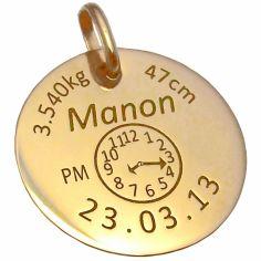 Médaille de naissance personnalisable (or jaune 750°)