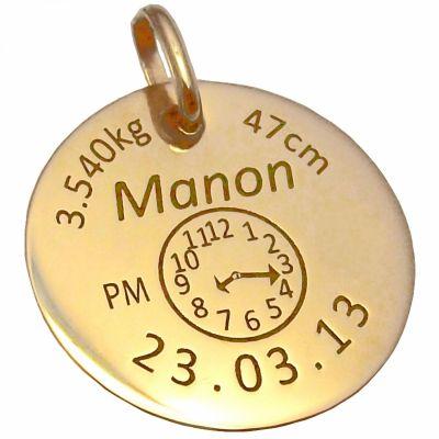 Médaille de naissance personnalisable (or jaune 750°)  par Alomi