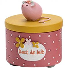 Boîte à dent souris rose et jaune