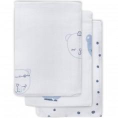 Lot de 3 gants de toilette hydrophiles Funny ours bleu