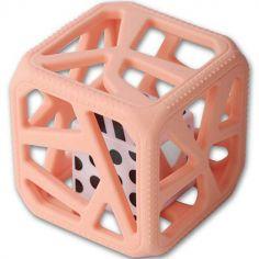 Hochet cube de dentition rose pêche