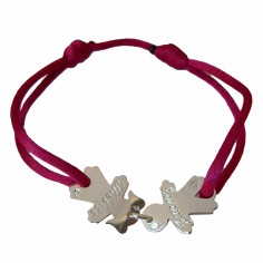 Bracelet cordon 2 enfants 17 mm (or blanc 750°)