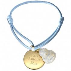 Bracelet cordon Buddha (plaqué or et nacre)