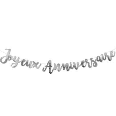 Guirlande Joyeux anniversaire argent  par Arty Fêtes Factory