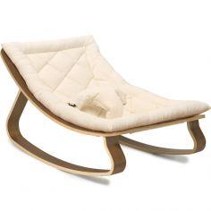 Transat à balancement Levo organic white en bois de noyer