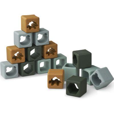 Blocs de construction en silicone Loren Green multi mix (16 blocs)  par Liewood