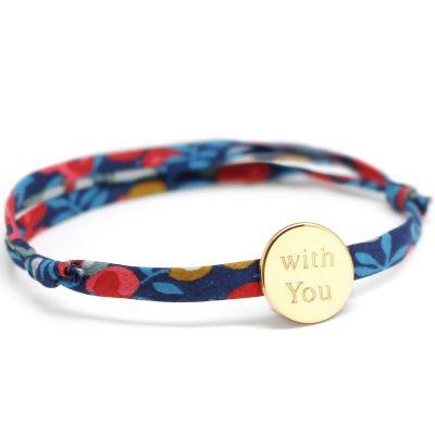 Bracelet cordon liberty médaille ronde personnalisable (plaqué or)  par Petits trésors