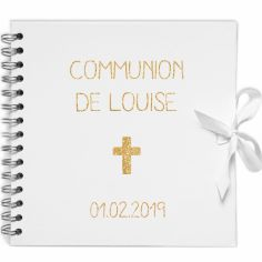 Album photo communion personnalisable blanc et or (20 x 20 cm)