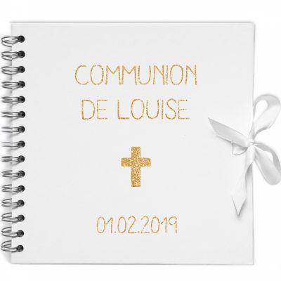 Album photo communion personnalisable blanc et or (20 x 20 cm)  par Les Griottes