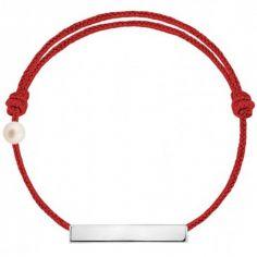 Bracelet cordon Plaque et perle rouge (or blanc 750°)