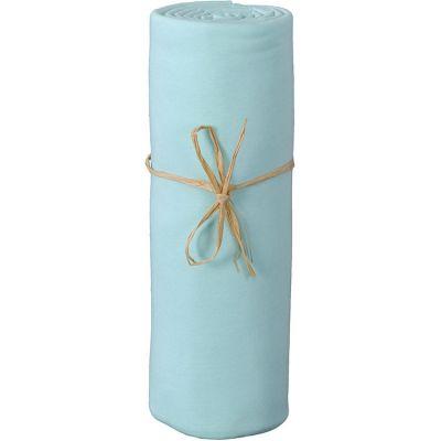 Drap housse de berceau en coton bio turquoise (50 x 80 cm)  par P'tit Basile