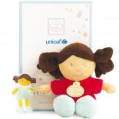 Poupée en tissu Unicef framboise - Doudou et Compagnie