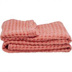 Couverture en coton bio Paros rose (75 x 100 cm)