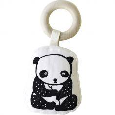 Hochet anneau en coton et bois Panda