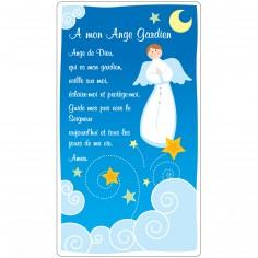 Tablette prière en bois Ange Gardien bleu