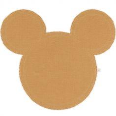 Set de table Mickey en lin caramel et doré