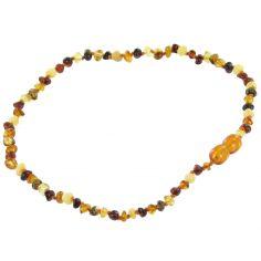 Collier en ambre bébé perles baroques multicolores (32 cm)