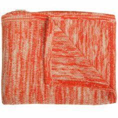 Couverture tricot coton rouge et beige (80 x 100 cm)